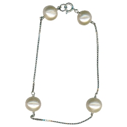 Natural Color Freshwater Cultured Pearl Bracelet in Silver