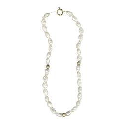 Freshwater Pearls & 3 mm Gold Balls  Bracelet in 14K Yellow Gold