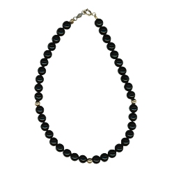 Black Onyx Beads & 3 mm Gold Balls Bracelet in 14K Yellow Gold