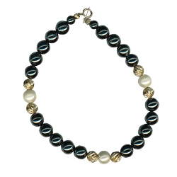 6 mm Hematite, Cultured Pearl & 5 mm Gold Balls Bracelet in 14K Yellow Gold