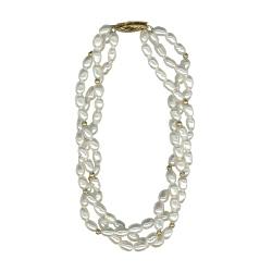 Three Strand Freshwater Pearl & 2 mm Gold Balls Bracelet in 14K Yellow Gold