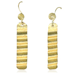 Asymmetric Textured Dangle Earrings in Sterling Silver with Yellow Rhodium