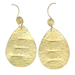 Drop Textured Dangle Earrings in Silver with Yellow Rhodium