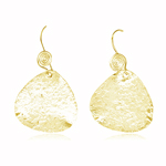 Asymmetric Textured Dangle Earrings in Silver with Yellow Rhodium