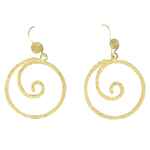 Circle Textured Dangle Earrings in Sterling Silver with Yellow Rhodium
