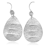 Drop Textured Dangle Earrings in Sterling Silver