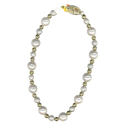 Cultured Pearl & 3 mm Gold Balls Bracelet in 14K Yellow Gold