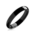 4 mm Black Domed Tungsten Wedding Band