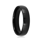 6 mm Black Domed Tungsten Wedding Band
