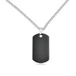 Black Dog Tag Men's Pendant in Tungsten