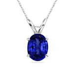1.00-1.52 Cts of 8x6 mm Heirloom Quality Oval Tanzanite Solitaire Pendant in 18K White Gold