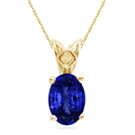 1.00-1.52 Cts of 8x6 mm Heirloom Quality Oval Tanzanite Solitaire Scroll Pendant in 14K Yellow Gold