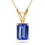 0.29-0.38 Cts of 5x3 mm AA+ Emerald Tanzanite Solitaire Pendant in 18K Yellow Gold