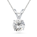 1.15 Cts of 6.5 mm AAA Round White Sapphire Solitaire Pendant in Platinum