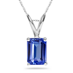 0.29-0.38 Cts of 5x3 mm AA+ Emerald-Cut Tanzanite Solitaire Pendant in 18K White Gold