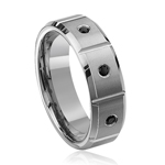 0.28 Cts Black Diamond 8 mm Beveled Edged Grooved Tungsten Wedding Band