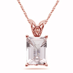3.00 Cts of 10x8 mm AAA Emerald-Cut Morganite Solitaire Scroll Pendant in 14K Pink Gold