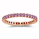0.68 Cts Pink Sapphire Eternity Ring in 14K Pink Gold - Christmas Sale