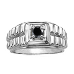 0.65 Cts Black Diamond Mens Ring in Silver