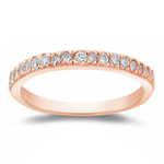 0.12-0.18 Cts SI2-I1 clarity & I-J color Round Diamond Wedding Ring in 14K Pink Gold