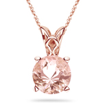 1.50 Cts of 8 mm AAA Round Morganite Solitaire Scroll Pendant in 14K Pink Gold