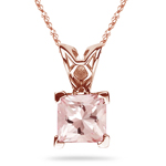 1.75 Cts of 7 mm AAA Princess Morganite Solitaire Scroll Pendant in 14K Pink Gold