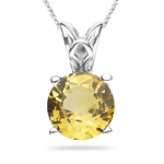 0.96-1.25 Cts of 6x6 mm AAA Round Yellow Sapphire Scroll Solitaire Pendant in Platinum