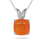1.61 Cts of 9x9 mm AAA Cushion Natural Brazilian Fire Opal Solitaire Scroll Pendant in 14K White Gold