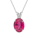 2.75-3.00 Cts of 10x8 mm AAA Oval Pink Tourmaline Scroll Solitaire Pendant in Platinum