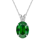 1.36 Cts of 8x6 mm AA Oval Green Tourmaline Scroll Solitaire Pendant in Platinum