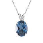 3.10 Cts of 10x8 mm AA Oval London Blue Topaz Scroll Solitaire Pendant in Platinum