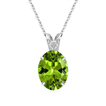 1.14-1.45 Cts of 8x6 mm AAA Oval Peridot Scroll Solitaire Pendant in Platinum