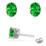 0.92-1.04 Cts of 6x4 mm AAA Oval Tsavorite Garnet Scroll Stud Earrings in Platinum