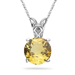 0.55-0.70 Cts of 5x5 mm AAA Round Yellow Sapphire Scroll Solitaire Pendant in Platinum