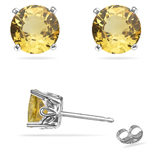 1.08-1.20 Cts of 5x5 mm AAA Round Yellow Sapphire Scroll Stud Earrings in Platinum