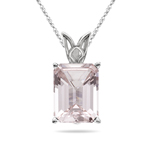 2.51-3.60 Cts of 10x8 mm AAA Emerald-Cut Morganite Scroll Solitaire Pendant in Platinum