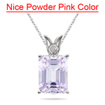 8.00-9.00 Cts of 14x10 mm AA Emerald-Cut Kunzite Scroll Solitaire Pendant in 14K White Gold