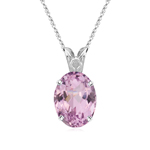 6.50-7.00 Cts of 13x10 mm AA+ Oval Kunzite Scroll Solitaire Pendant in 14K White Gold