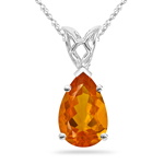 0.92 Cts of 10x7 mm AA Pear Fire Opal Scroll Solitaire Pendant in 14K White Gold