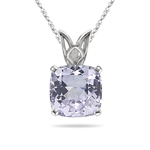 3.94-5.85 Cts of 10.2x10.2 mm AA Cushion Kunzite Scroll Solitaire Pendant in 14K White Gold