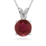 0.63-0.78 Cts of 6x6 mm AA Round Ruby Scroll Solitaire Pendant in Platinum
