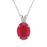 0.50-0.65 Cts of 6x4 mm AA Oval Ruby Scroll Solitaire Pendant in Platinum
