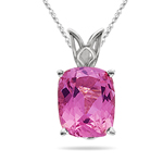 1.53 Cts of 8x6 mm AAA Emerald-Cut Pink Tourmaline Scroll Solitaire Pendant in Platinum