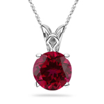 0.30 Cts of 4 mm AAA Round Ruby Scroll Solitaire Pendant in Platinum
