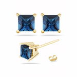 2.55 Cts of 6x6 mm AA Princess London Blue Topaz Stud Earrings in 14K Yellow Gold
