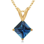 1.14-1.31 Cts of 6x6 mm AA Princess London Blue Topaz Solitaire Pendant in 14K Yellow Gold
