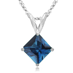 1.14-1.31 Cts of 6x6 mm AA Princess London Blue Topaz Solitaire Pendant in 18K White Gold