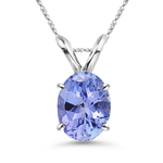 0.52-0.66 Cts of 6x5 mm AA Oval Tanzanite Solitaire Pendant in 18K White Gold