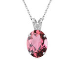 1.36 Cts of 8x6 mm AA Oval Pink Tourmaline Scroll Solitaire Pendant in Platinum