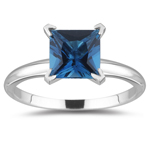 1.16 Cts of 6 mm AA Princess London Blue Topaz Solitaire Ring in 14K White Gold